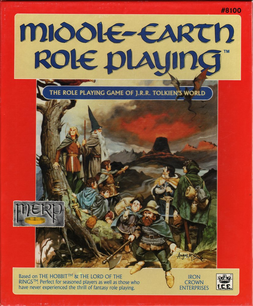 MERP rulebook showing the fellowship if the ring standing next to a tree looking into the distance where mount doom is visible