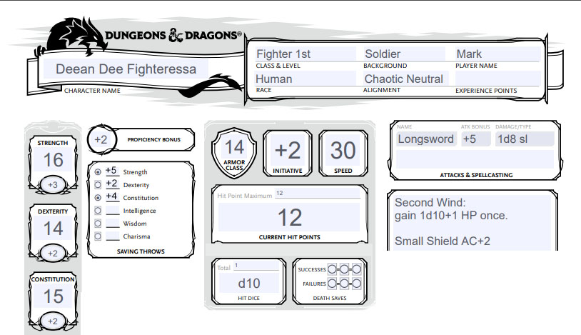 Our first level fighter called Deean Dee Fighteressa