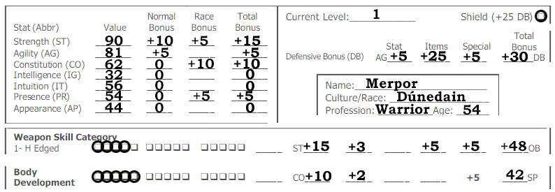 A MERP character sheet showing our character and all bonuses leading to his offensive and defensive bonus
