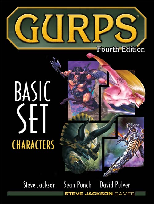 "The GURPS fourth edition ""Characters"" rulebook showing a selection of characters on the cover."