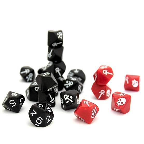 Vampire the Masquerade ten sided dice, including custom dice without numbers
